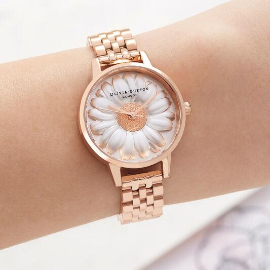 3D Daisy Rose Gold Bracelet Watch