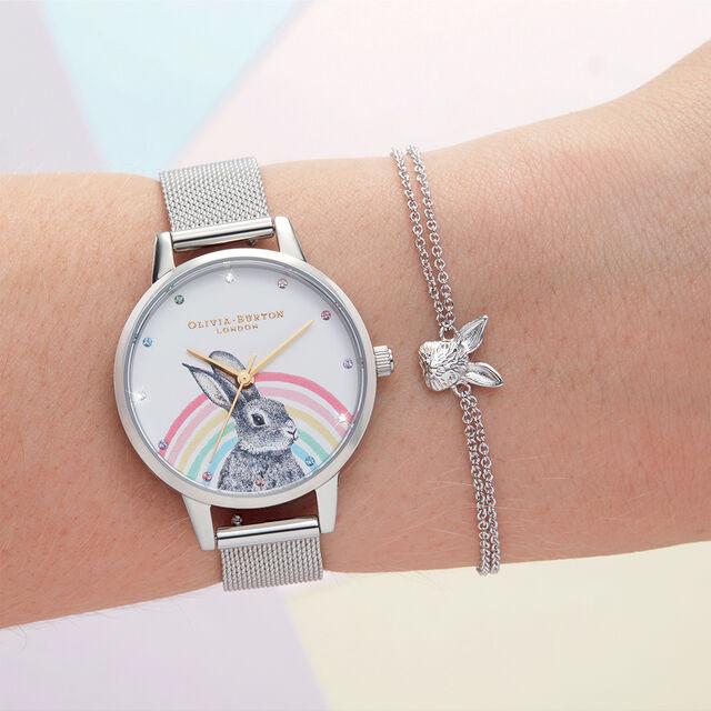Illustrated Animals Rainbow Bunny, Gold & Silver Mesh