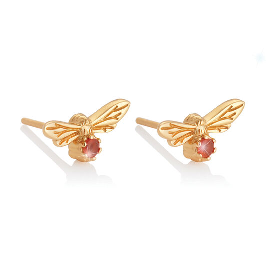Celebration Stones Celebration Bee Studs Gold & Red Agate (July)
