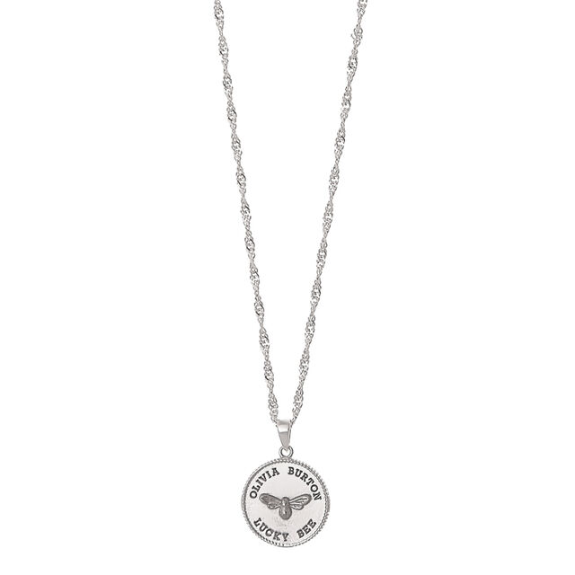 Lucky Bee Coin Silver Pendant Necklace
