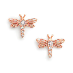 Dancing Dragonfly Stud Earrings Rose Gold