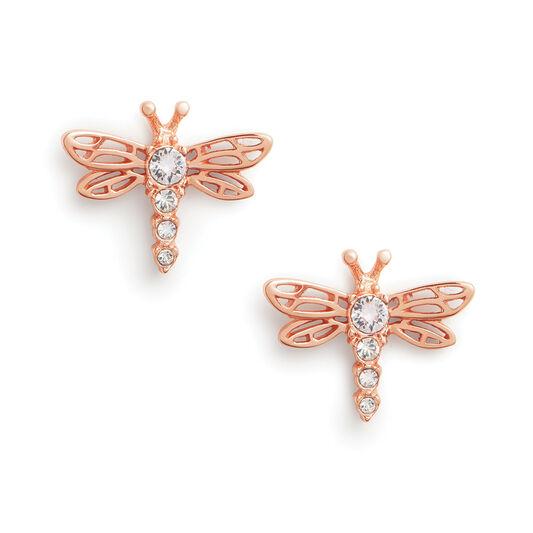 Clous d'oreilles Dancing Dragonfly or rose