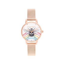 Illustrated Animals Rainbow Bee, Rose Gold Mesh