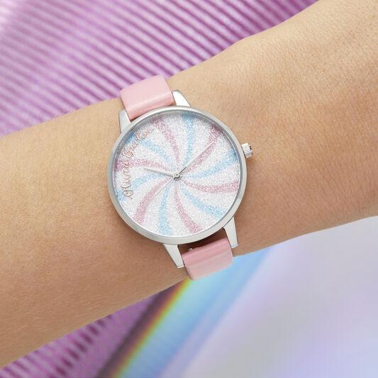 Lollipop Glitter Demi Dial Bubblegum & Silver Watch