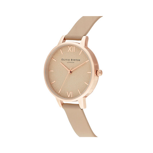 Woven Dial Toffee & Rose Gold Watch