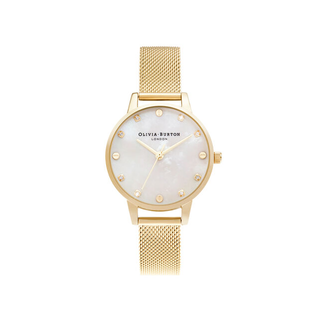 Midi Mother of Pearl Dial Pale Gold Mesh Watch