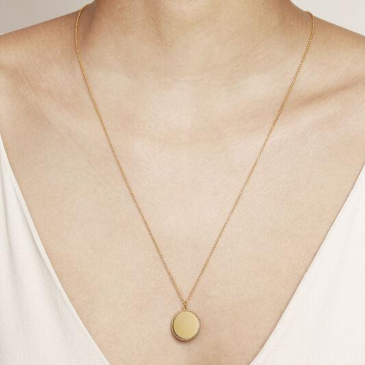 Engravable Disc Necklace Gold