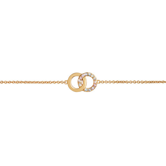 Bejewelled Classics Rainbow Interlink Chain Bracelet Gold