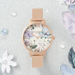Bejewelled Florals Silver Glitter Dial & Rose Gold Mesh