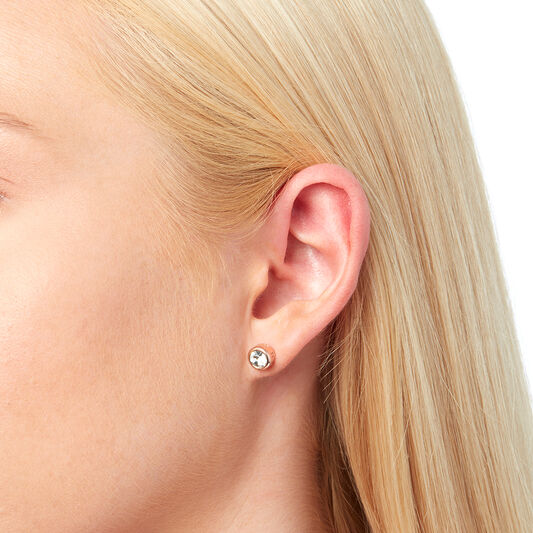 Round Stud Earring Rose Gold