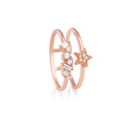 Celestial Double Band Ring Rose Gold L