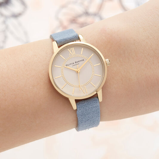 Wonderland Chalk Blue Suede, Nude Dial & Gold Watch