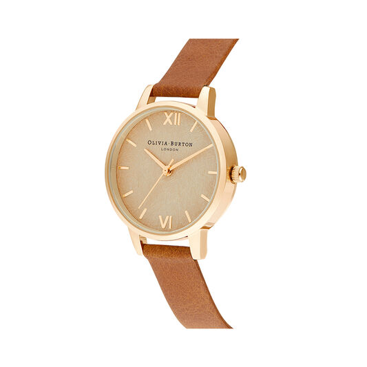 Woven Dial Tan & Gold Watch
