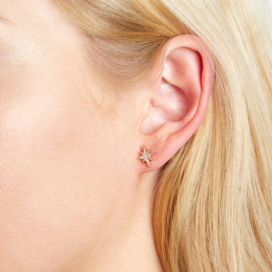 North Star Rose Gold Stud Earrings