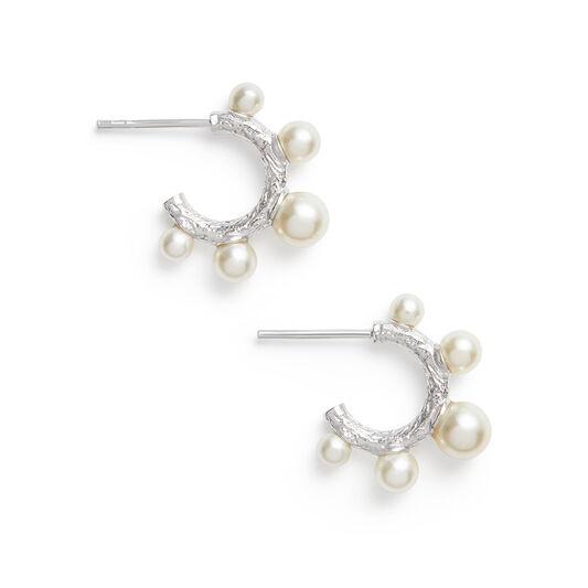 Coral Pearl Silver Hoop