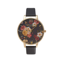 Winter Garden Black & Gold Watch