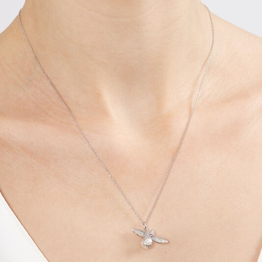 Pearl Bee Pendant Silver Necklace