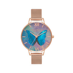 Glitter Demi Dial Mother Of Pearl Butterfly Rose Gold Mesh Watch