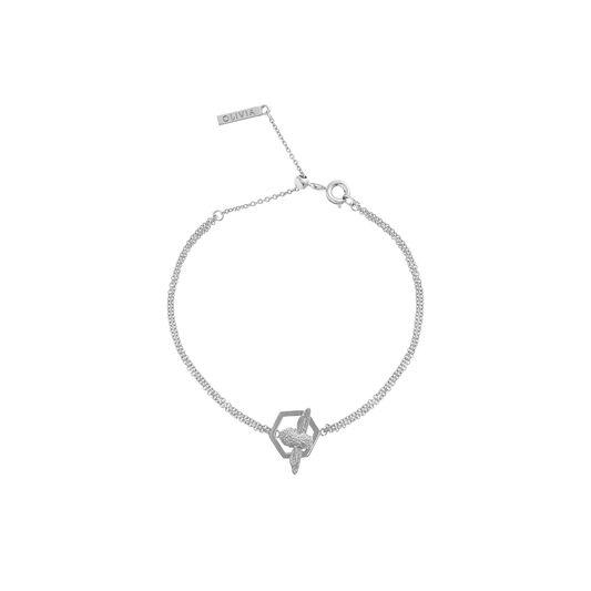 Honeycomb Bee Silver Bracelet
