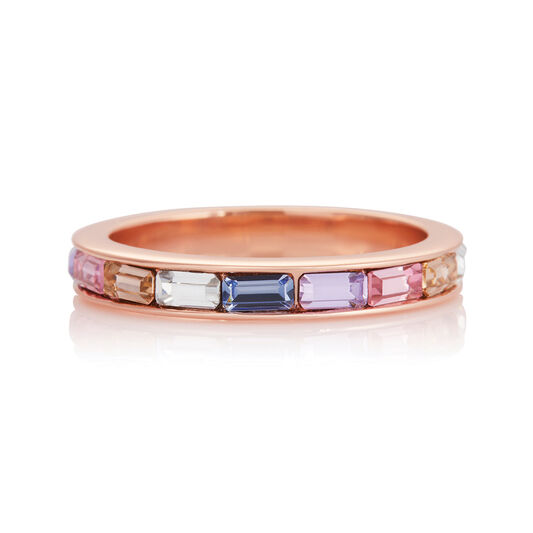 Rainbow Baguette Ring Rose Gold (S)