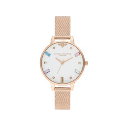 Rainbow Bee Rose Gold Mesh Watch