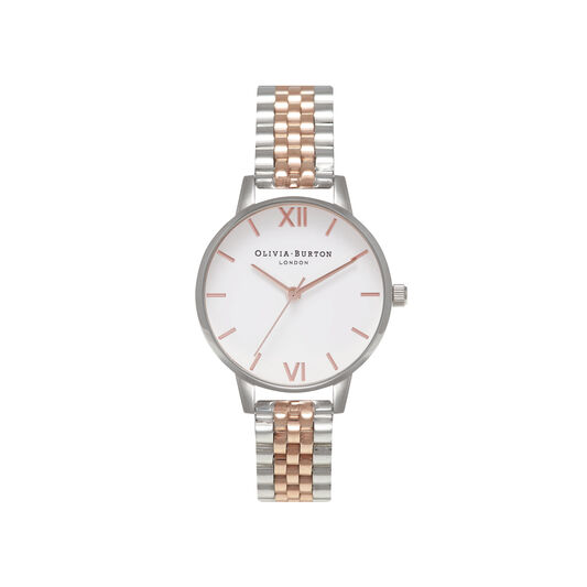 White Dial Silver & Rose Gold Bracelet Watch