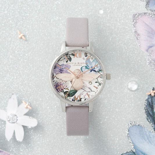 Bejewelled Florals Midi 3D Bee Parma Violet, Rose Gold & Silver