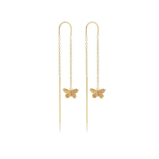 3D Butterfly Threader Gold Earrings