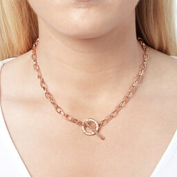 Bejewelled T-Bar Necklace Rose Gold