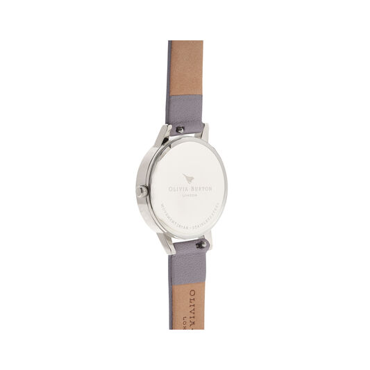 White Dial Grey Lilac & Silver Watch