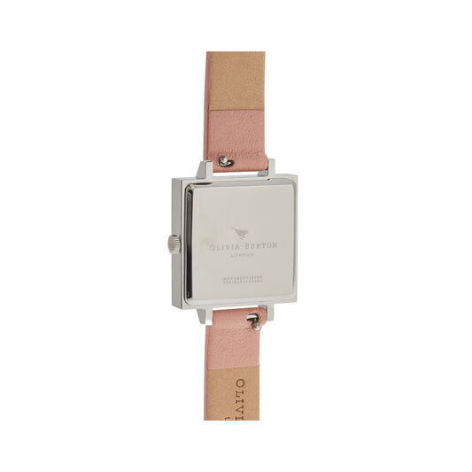 Midi Square Dial Dusty Pink and Silver Watch