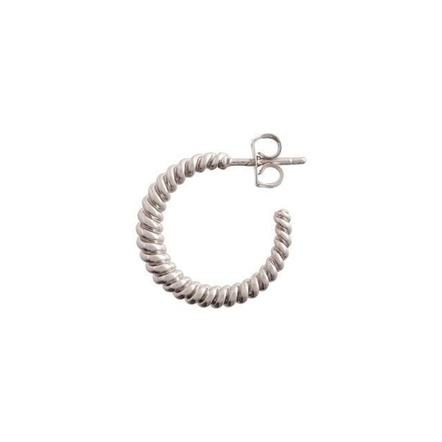 Rope Twist Silver Hoops