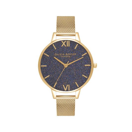Montre à cadran intermédiaire pailleté bleu marine et bracelet milanais or