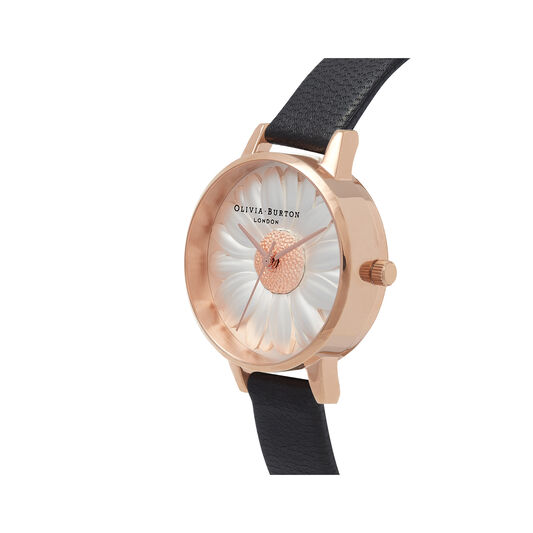 3D Daisy Black & Rose Gold Watch