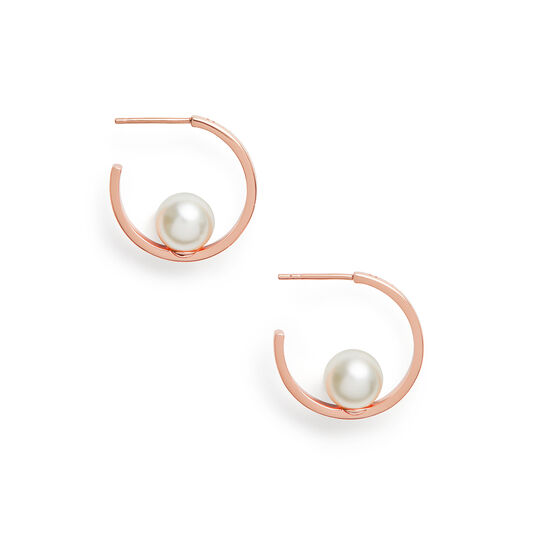 The Classics Rose Gold Pearl Hoop