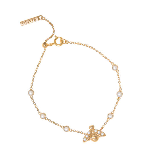 Bracelet or perlé au motif d'abeille