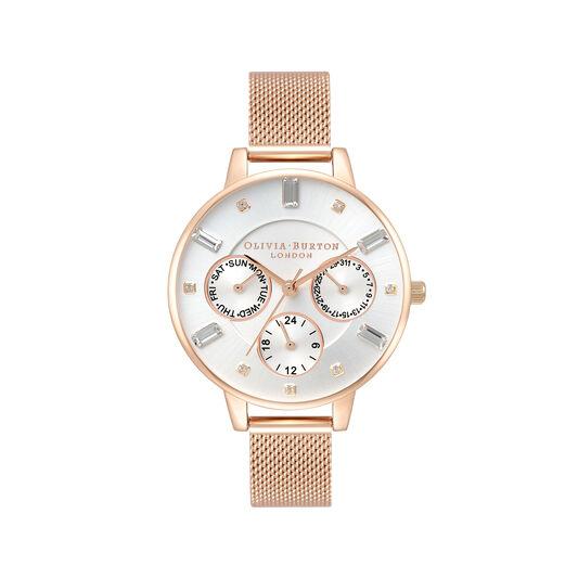 Montre Multi Function à cadran Demi et bracelet milanais or rose
