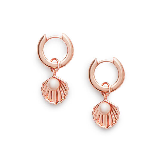 Under The Sea Huggie Hoops Pearl & Rose Gold