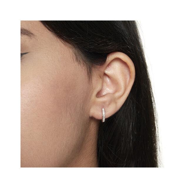 Huggie Hoop Earrings with White Topaz