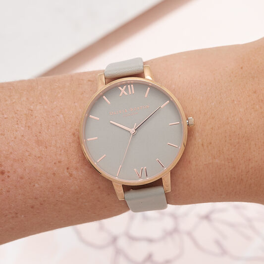 Big Dial Grey And Rose Gold Watch