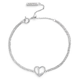'L' Heart Initial Chain Bracelet Silver