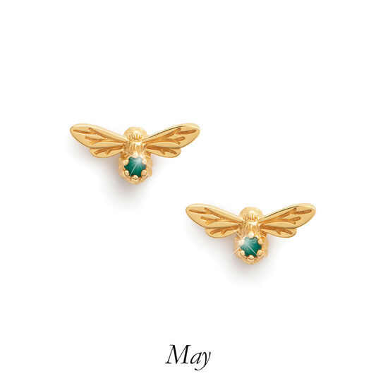 Celebration Stones Celebration Bee Studs Gold & Green Agate (May)