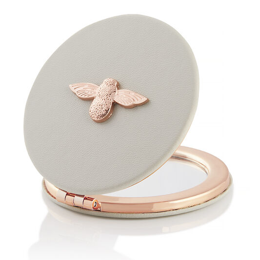 3D Bee Compact Mirror Grey & Rose Gold