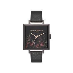 After Dark Floral Big Square Dial Matte Black & Rose Gold Watch