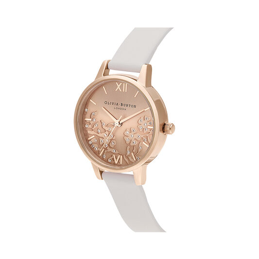 Bejewelled Lace Blush & Rose Gold Mesh Watch