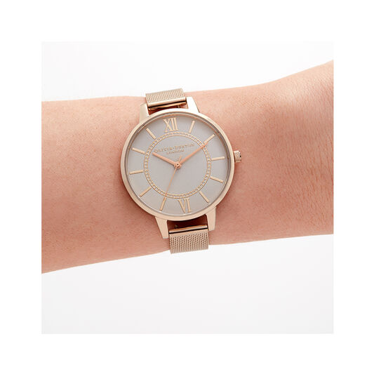 Wonderland Grey and Rose Gold Mesh Watch