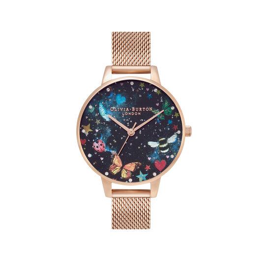 Montre Night Garden à cadran Demi et bracelet milanais or rose