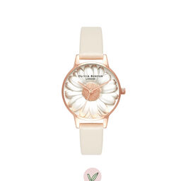 3D Daisy Vegan Nude & Rose Gold Watch