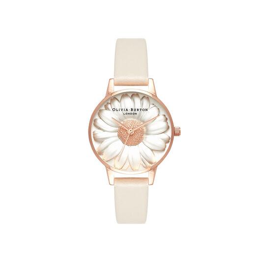 3D Daisy Vegan Nude & Rose Gold Watch
