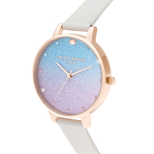 Glitter Ombre Big Dial Shimmer Pearl & Rose Gold Watch